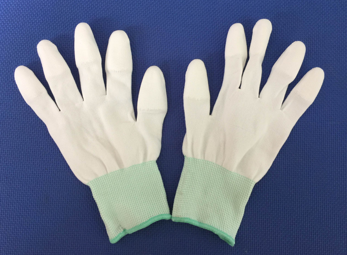 Safety Gloves , white, PU coated on fingers