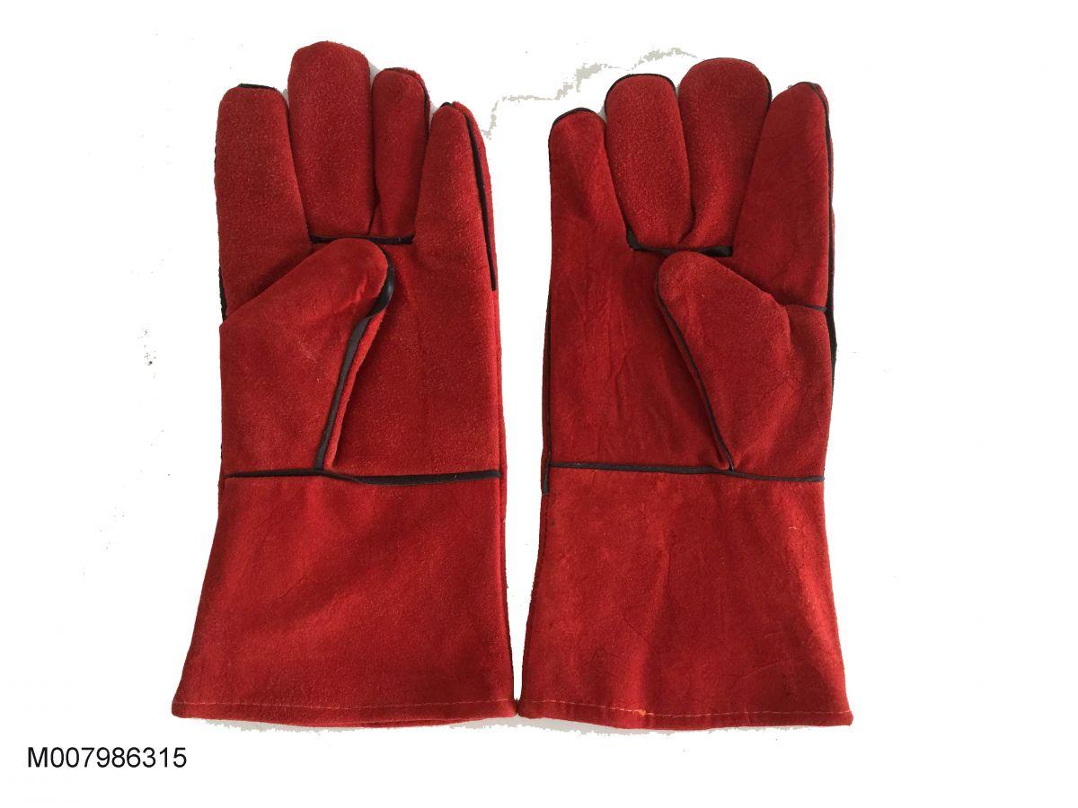 Găng tay da hàn Pháp màu đỏ 02 lớp