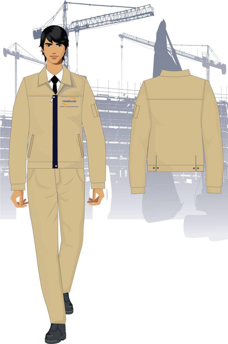 Mẫu thiết kế Quần áo bảo hộ lao động màu vàng nhạt